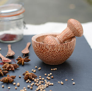 Coco Wood Mini Pestle And Mortar Grinder - kitchen