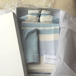 Cotton Stripy Newborn Blanket Gift Set - baby care