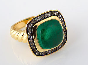 Emerald Green Doublet Quartz Ring - rings