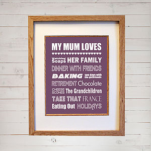 Personalised My Mum Loves Print - view all mother's day gifts