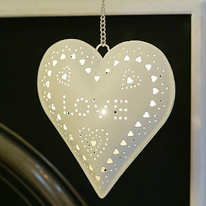 Cream Heart Hanging Tealight Holder - home