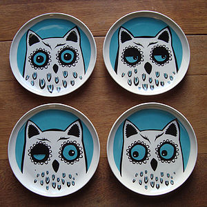 Owl Plate Box Of Four