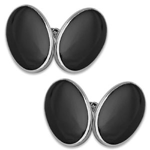 Silver Onyx Double Sided Oval Cufflinks - cufflinks