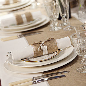 Hessian And Satin Napkin Wrap - table decorations