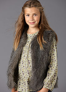 Girls' Liberty Lined Faux Fur Gilet