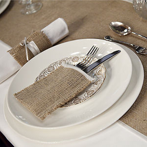 Hessian And Satin Wedding Cutlery Sleeve