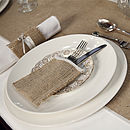 Hessian And Satin Christmas Cutlery Sleeve