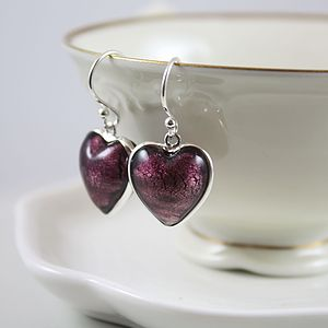Murano Glass And Silver Heart Earring - earrings