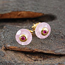 Gold Rose Quartz Double Set Stone Studs