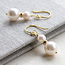 Gold Drop Earrings Made With Swarovski Glass Pearls