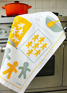 'Gingerbread Men' Recipe Tea Towel - tea towels