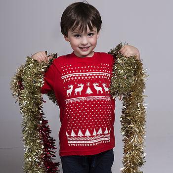 Childrens reindeer Tshirt - Red