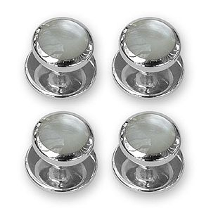 Sterling Silver Mother Of Pearl Shirt Studs - men's jewellery
