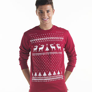 Men's Christmas Reindeer Long Sleeved Tshirt - christmas entertaining