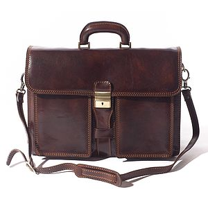 Milan Flapover Leather Briefcase - bags