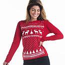 Women Reindeer Christmas Jumper Styled Longsleeve Tee