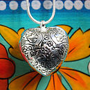 Chunky Silver Birdy Heart Pendant Necklace