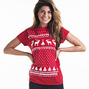 Women's Christmas Reindeer Cotton T Shirt