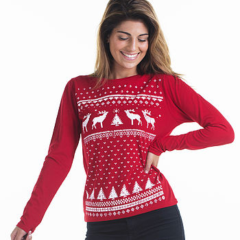 Womens glow in the dark long sleeve reindeer -red