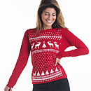 Womens glow in the dark long sleeve reindeer -red