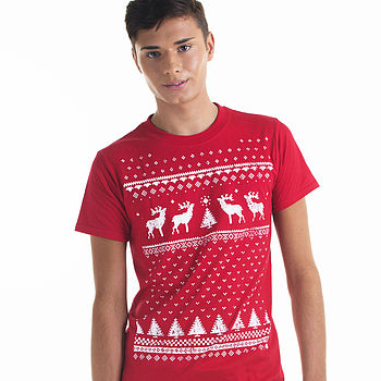 mens glow in dark reindeer - red