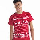 Glow In The Dark Christmas Jumper Style Reindeer Tshirt