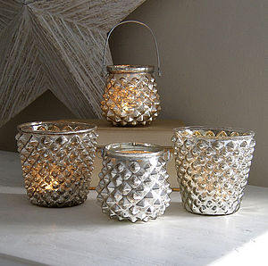 Silver Diamond Tealight Holders - candles & home fragrance