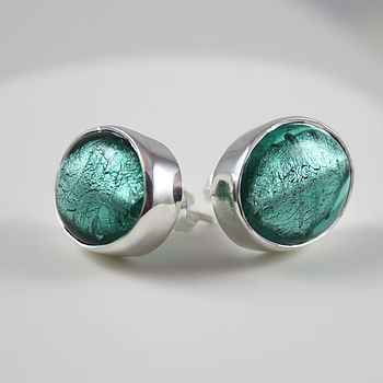Silver Stud Earrings With Oval Murano Glass - Sea Green