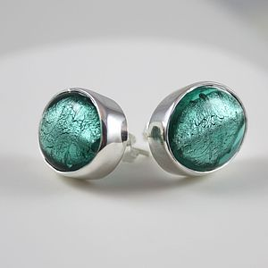 Silver Stud Earrings With Oval Murano Glass