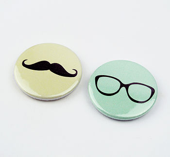 Set Of Two Geek Chic Pin Badges