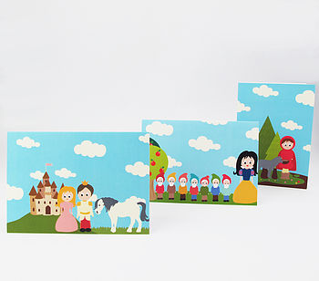 Pack Of Three Fairytale Themed Greeting Cards