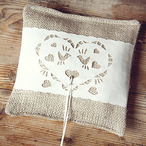 Simple Hessian Ring Pillow