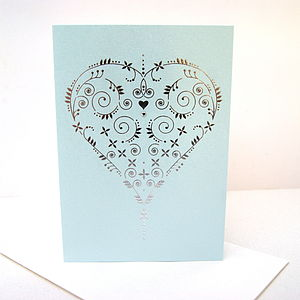 Foiled Letterpress Heart Card - wedding, engagement & anniversary cards