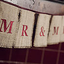 mr and mrs burlap bunting