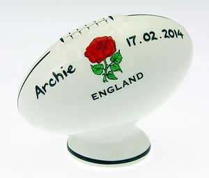 Personalised Six Nations Rugby Ball Moneybox - ceramics