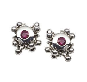Ruby Cluster Earrings
