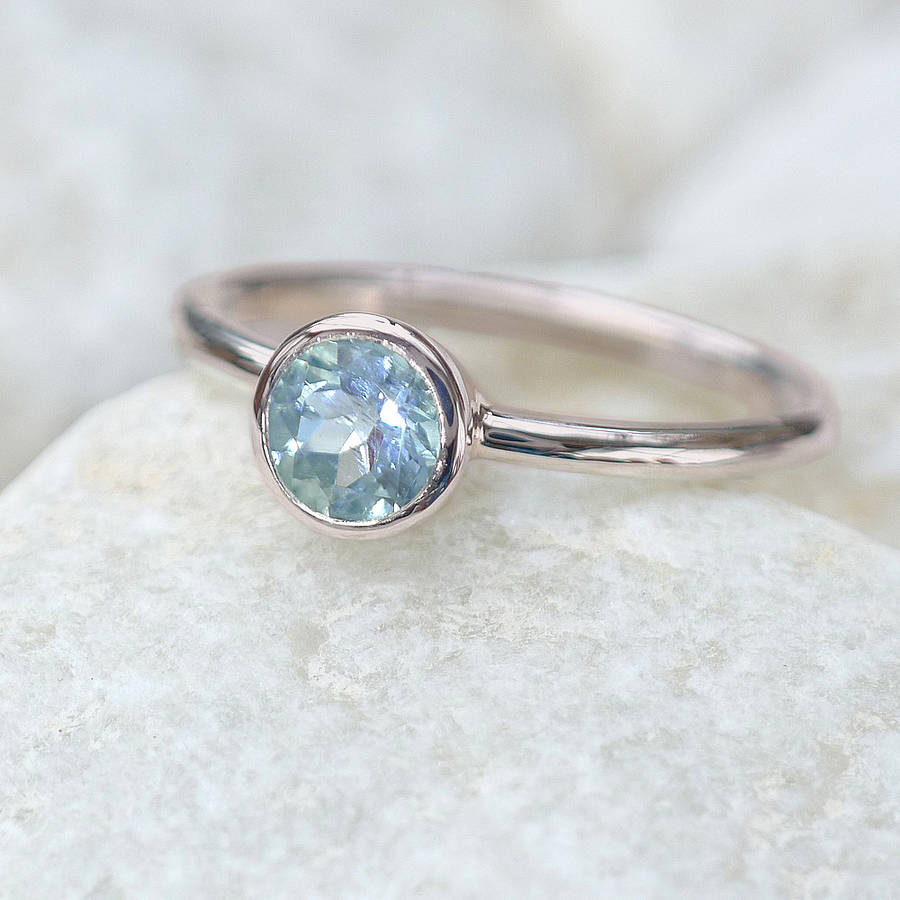 Aquamarine Solitaire Ring In 18ct Gold By Lilia Nash
