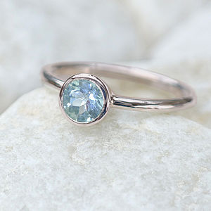 Aquamarine Solitaire Ring In 18ct Gold - rings