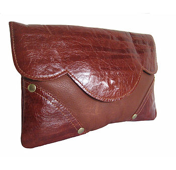 Georgie Leather Clutch Bag: Brown/Brown Stripe