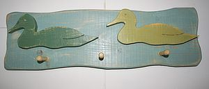 Duck Wall Plaque With Pegs - shelves & racks