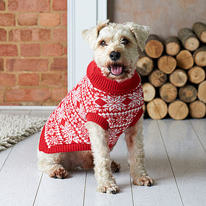 Traditional Christmas Nordic Knitted Dog Jumper - pets