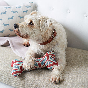 Union Jack Squeaky Dog Bone Toy - top for dogs