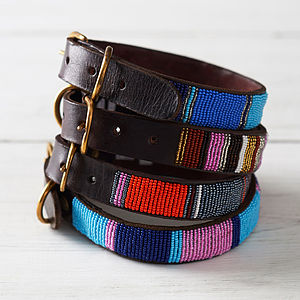 Leather Beaded Dog Collar - dog collars
