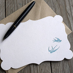 Vintage Swallows Letterpress Note Cards - office & study