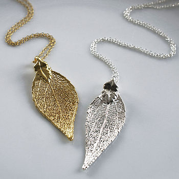 Evergreen Leaf Necklace In Gold Or Silver