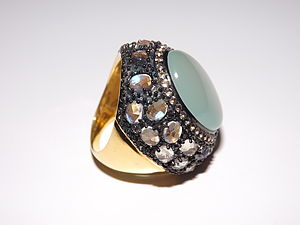 Silver Aqua Calcite Moonstone Ring - rings