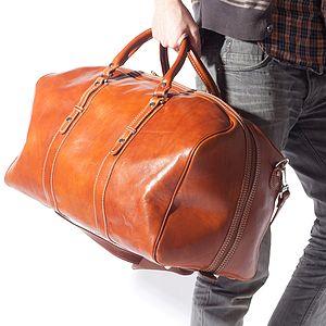 Vincenzo Italian Large Leather Holdall - travel & luggage