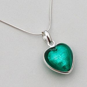 Murano Glass Heart Sterling Silver Pendant - women's jewellery