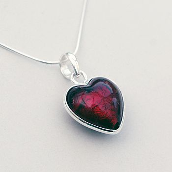 Murano Glass Heart Sterling Silver Pendant - Ruby Red