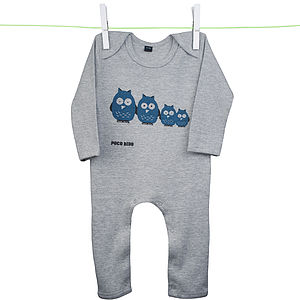 Babies Owls Romper Suit Grey